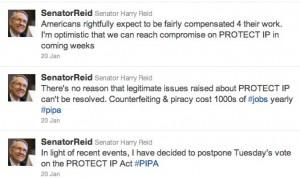 Screen shot of Harry Reid's Twitter feed regarding PIPA