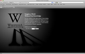 Screen shot of the Wikipedia homepage from Jan. 18, 2012