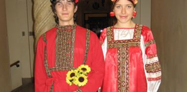 Anton Dubrovskiy and his wife Nataliya in formal Russian attire. Photo courtesy of Anton Dibrovskiy.