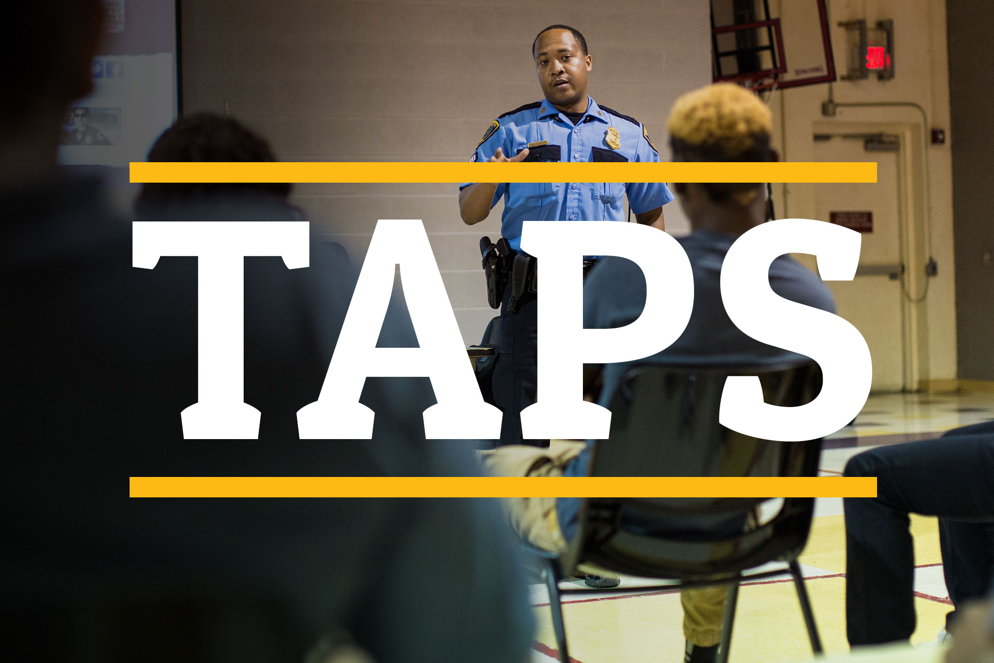 Promotional Image: In 2012, UHCL Professor of Criminology Everett Penn and Houston Police Department Assistant Chief Brian Lumpkin founded the Teen and Police Service Academy (TAPS) to bridge the divide between at-risk youth and law enforcement. Nearly three years later, the program has expanded to cities around the nation and in other countries, changing lives along the way.  The image links to http://uhclthesignal.com/wordpress/tapspage/ - the special topic page examining TAPS. Photo by The Signal reporter Travis Pennington.
