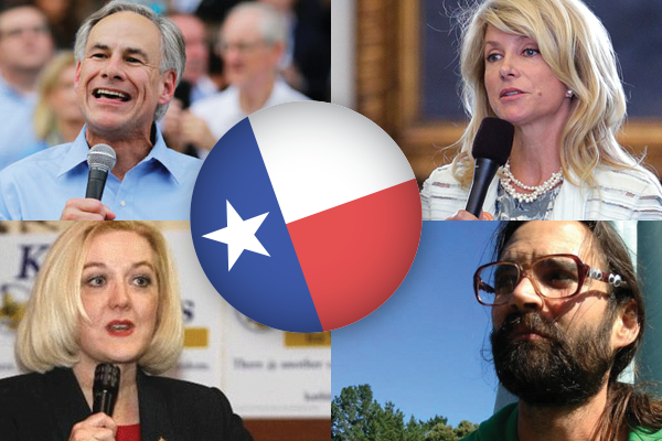 Texas candidates Greg Abbot, Wendy Davis, Kathie Glass and Brandon Parmer.