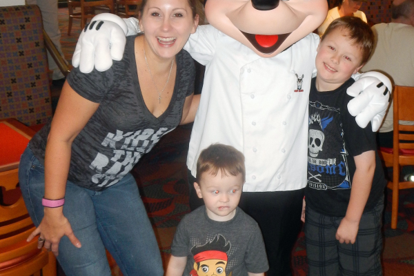 The Signal reporter Jacki Fries and her kids, Jude and John, at Disney World. Courtesy photo.