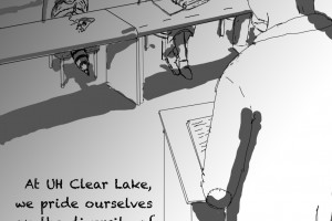 Cartoon: UHCL Diversity by art major Levi Rosen. Cartoon depicts a raccoon in a classroom setting with other students and a professor, with the caption