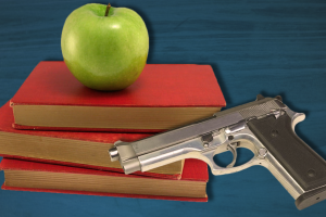 Illustration: Computer generated graphic illustrating the possibility of guns on campus with stacked books and a gun. Illustration created by The Signal Managing Editor Sam Savell.