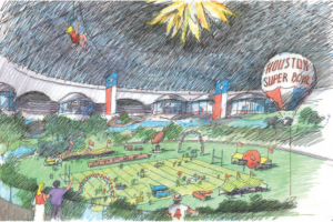 Concept drawing for the park built inside of the Astrodome.