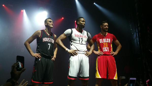 cd685ac9e96 image: Pictured L-R: Sam Dekker, Dwight Howard and Donatas Motiejunas stand  and model