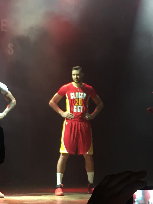 d0e57027e17 image: Donatas Motiejunas stands and models the Houston Rockets' alternate  pride