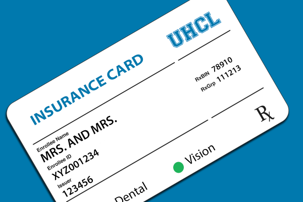 Graphic: An insurance card featuring the enrollee names