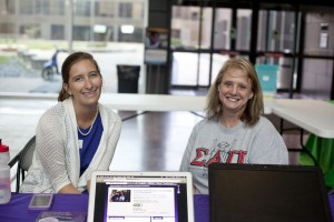 Photo: Guest speaker Krista Bohn, Galveston/Bay Area regional outreach coordinator for the Alzheimer's Association Houston & Southeast Texas Chapter, sits next to Dawn Iven, community service chair for the National Society of Leadership and Success, before the event. Photo by The Signal reporter Sarah Wylie.