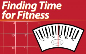 Graphic: Finding time for Fitness blog series logo. Graphic created by The Signal Managing Editor Dave Silverio.