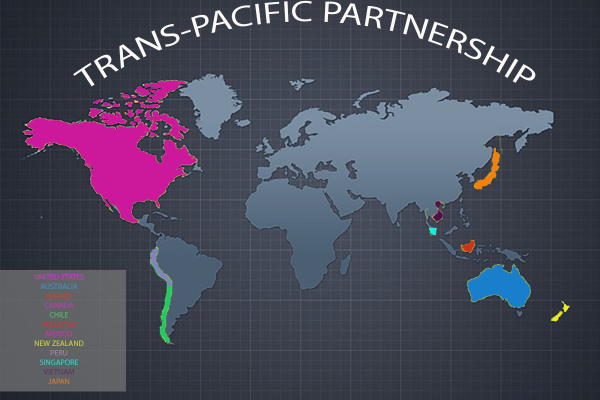 Image: Trans-Pacific Partnership. World map with the highlighted countries that are participating. Graphic created by The Signal reporter Alexandria Smith.