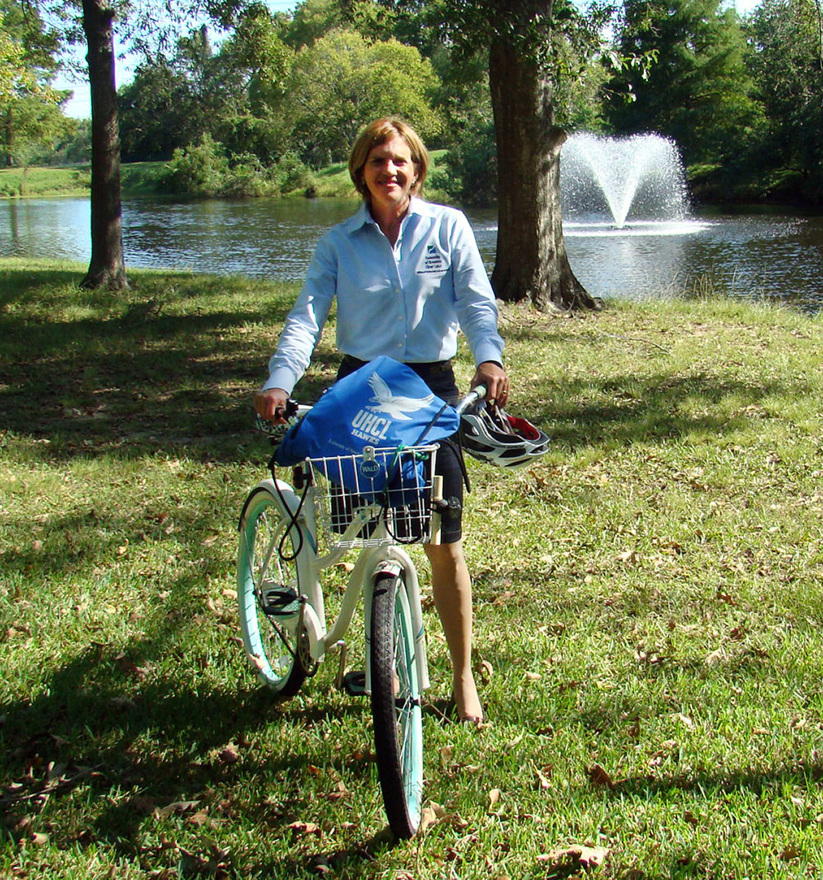 Photo: Karen Barbier, associate director of media relations, often rides her bike to work. Photo by The Signal reporter Kyle Upton.