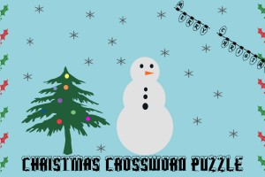 Graphic shows a decorated Christmas tree with a snowman in a snowy setting. Merry Christmas is written in lights in the corner. Christmas crossword puzzle is written at the bottom. Holly leaves create a border on the right and left sides.