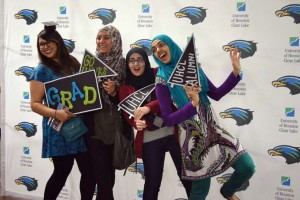 Image: Four fellow graduates celebrate their upcoming graduation ceremonies by attending the UHCL Alumni Association's Soaring Hawk Celebration. Image provided by UHCL Alumni Association.