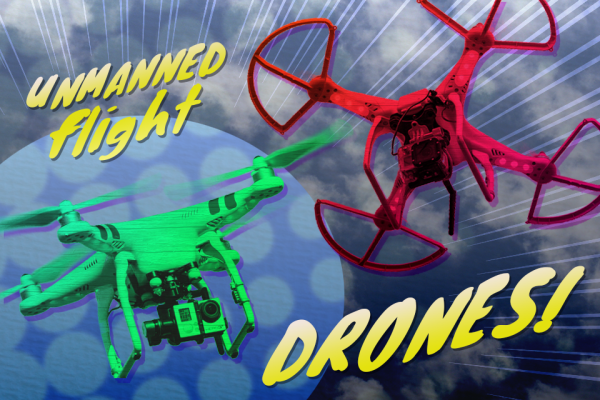 Graphic Illustration of two different types of drones. Graphic created by The Signal Managing Editor Sam Savell.