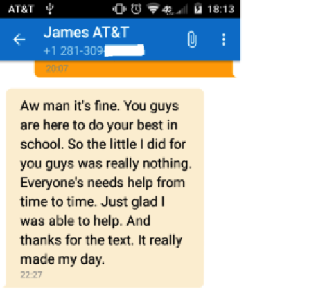 Best Essays In English Screenshot Of A Text Message Conversation Between James And Praveen Photo  Courtesy Of Praveen Tata Proposal Essay Topic Ideas also Essay For English Language Essay Heart Doesnt Have A Color  Uhcl The Signal Essays Examples English