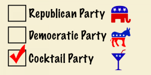 Graphic: Ballot with republican party, democratic party and cocktail party selections with cocktail party selected.