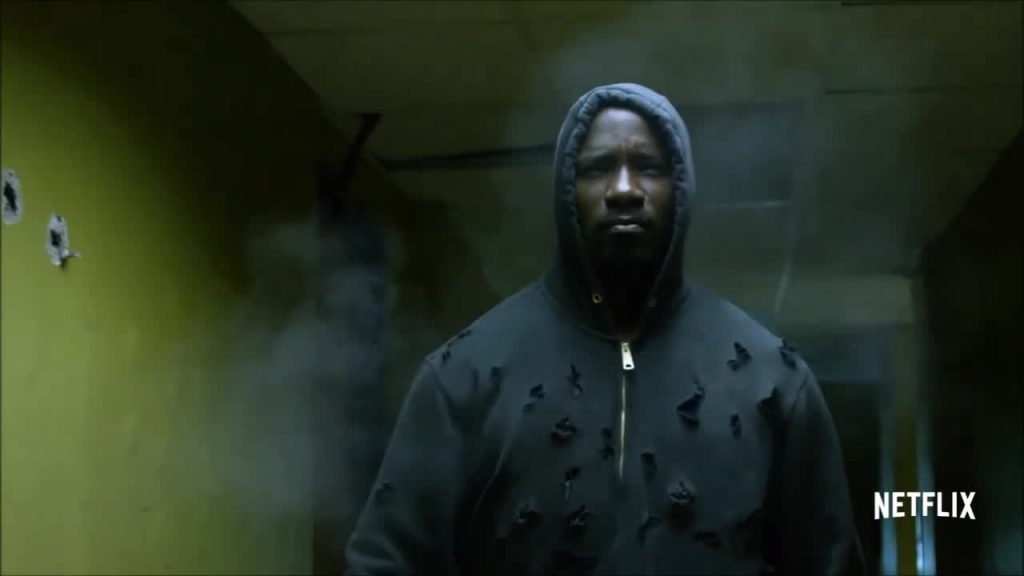 Luke Cage, portrayed by Mike Colter, sports a hoodie as bullets bounce off his impenetrable skin. Photo courtesy of IMDB.com and Netflix.