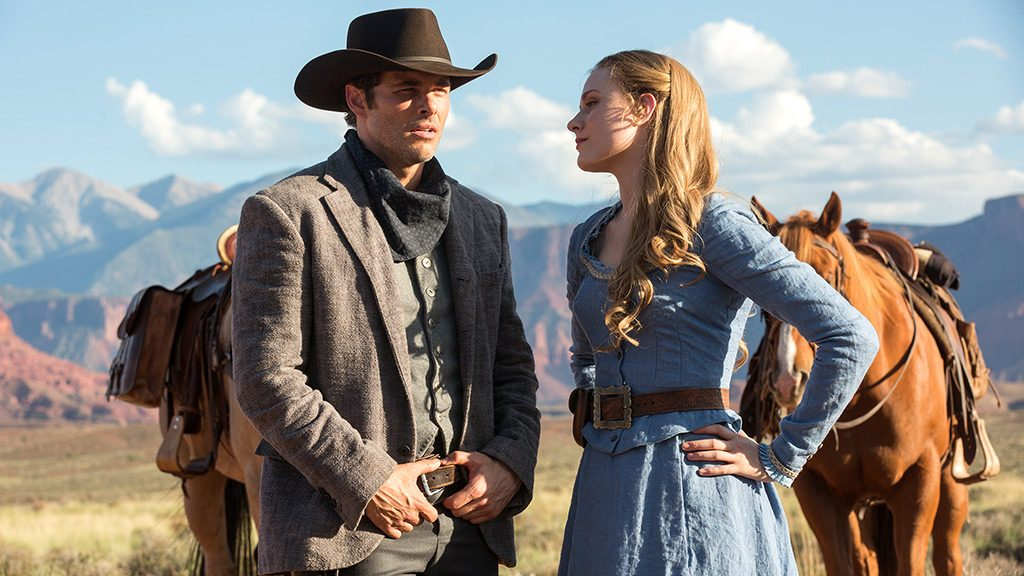 "Delores, portrayed by Evan Rachel Wood, and Teddy, portrayed by James Marsden, in ""Westworld."" Photo courtesy of HBO."