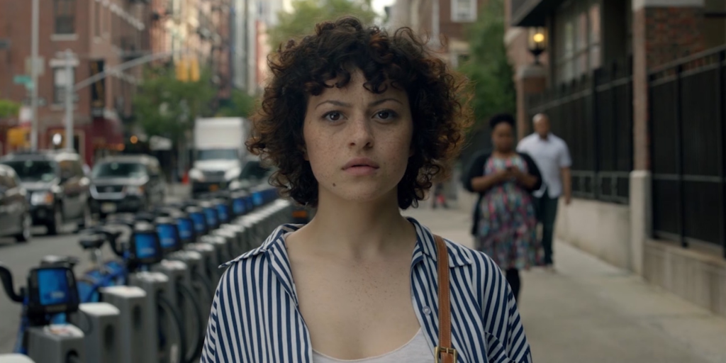 "Dory, portrayed by Alia Shawka, on the hunt for Chantal in ""Search Party."" Photo courtesy of TBS and Deadline."