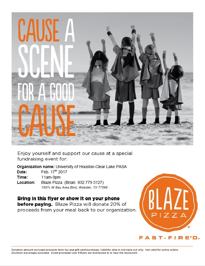 "Graphic: PASA fundraiser flyer. Black and white picture of children wearing capes holding their arms up as if they are about to take flight. The words ""cause a scene for a good cause,"" are in orange and white. The bottom has the Blaze pizza logo in orange."