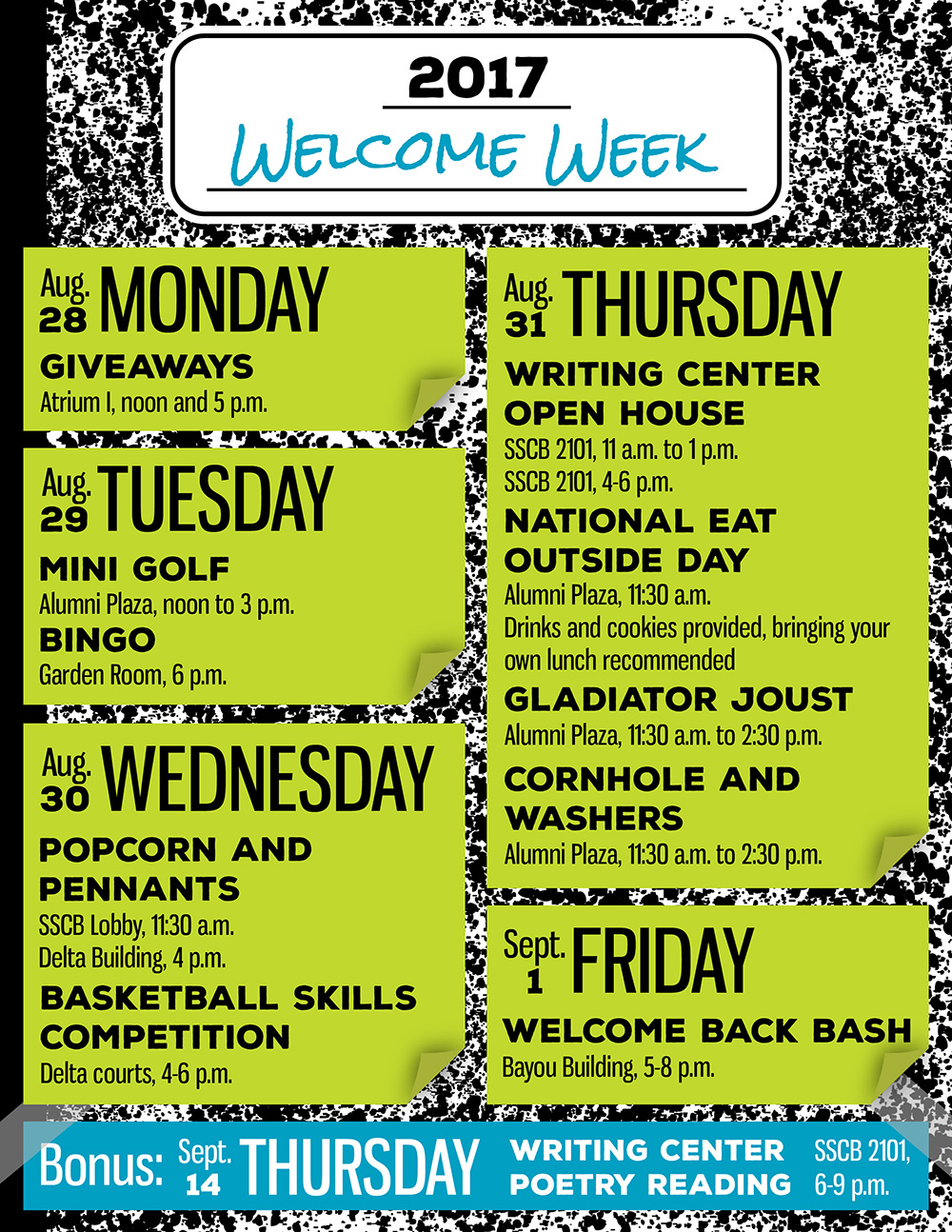 Welcome Week 2017 Event Schedule  U2013 Uhcl The Signal