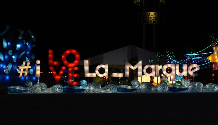 PHOTO: A lighted homage dedicated to the home of Magical Winter Lights, La Marque, TX displayed in The Lone Star State attraction. Photo by The Signal reporter Bianca Salazar.